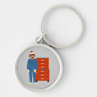 Sock Monkey Mechanic Silver-Colored Round Keychain