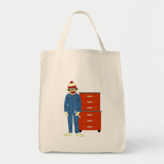 Sock Monkey Mechanic Tote Bag