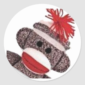 Sock Monkey merchandise products gifts Classic Round Sticker