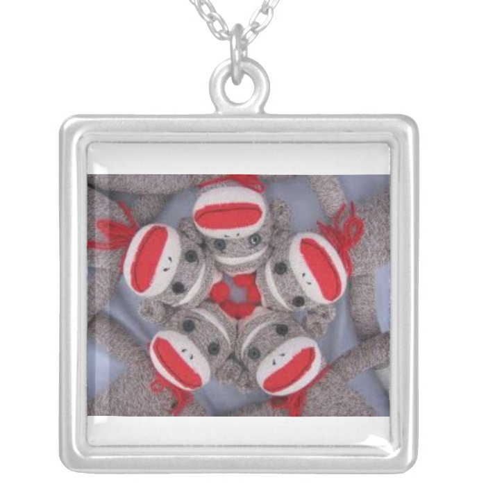 Sock Monkey Monkeys Necklace