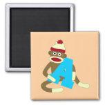 Sock Monkey Monogram Boy A 2 Inch Square Magnet