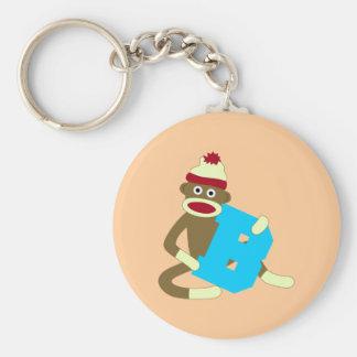 Sock Monkey Monogram Boy B Keychain