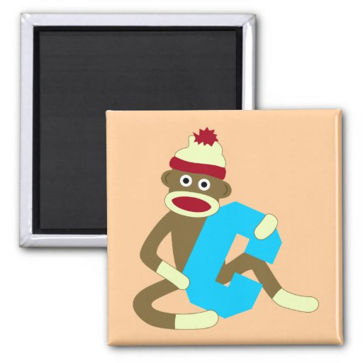Sock Monkey Monogram Boy C 2 Inch Square Magnet