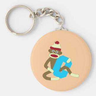 Sock Monkey Monogram Boy C Keychain