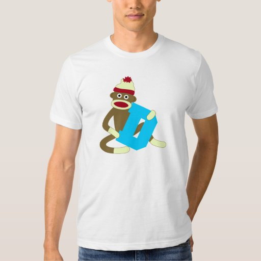 Sock Monkey Monogram Boy D T Shirts