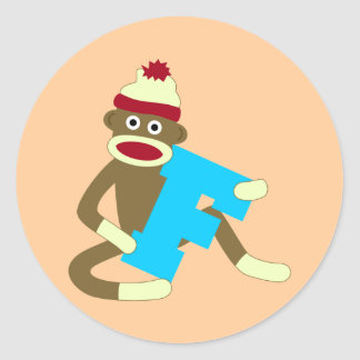 Sock Monkey Monogram Boy F Classic Round Sticker