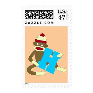 Sock Monkey Monogram Boy H Postage