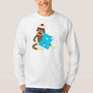 Sock Monkey Monogram Boy H Tee Shirt