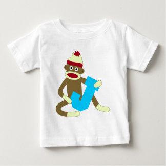 Sock Monkey Monogram Boy J Baby T-Shirt