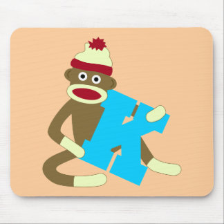 Sock Monkey Monogram Boy K Mousepads