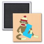 Sock Monkey Monogram Boy L 2 Inch Square Magnet