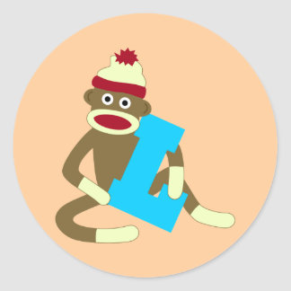 Sock Monkey Monogram Boy L Classic Round Sticker