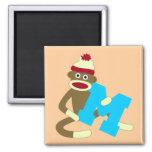 Sock Monkey Monogram Boy M 2 Inch Square Magnet