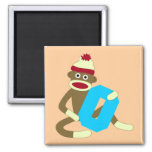 Sock Monkey Monogram Boy O 2 Inch Square Magnet