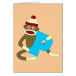 Sock Monkey Monogram Boy P Greeting Card