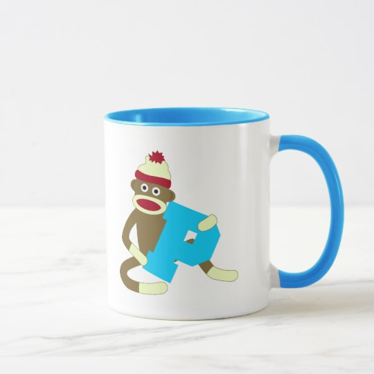 Sock Monkey Monogram Boy P Mug