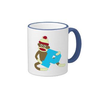 Sock Monkey Monogram Boy P Ringer Mug