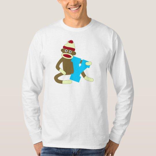 Sock Monkey Monogram Boy Y T-Shirt