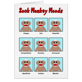Sock Monkey Moods Note Card