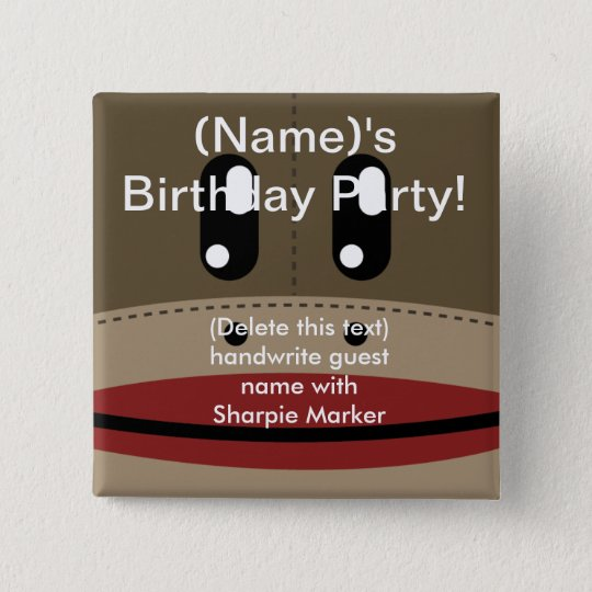 SOCK MONKEY Name Pin Favors for Party Birthday