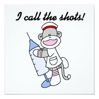 Sock Monkey Nurse I Call the Shots Gifts Card