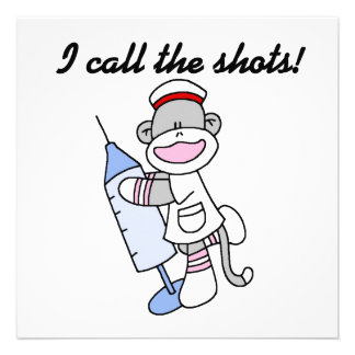 Sock Monkey Nurse I Call the Shots Gifts Invitation