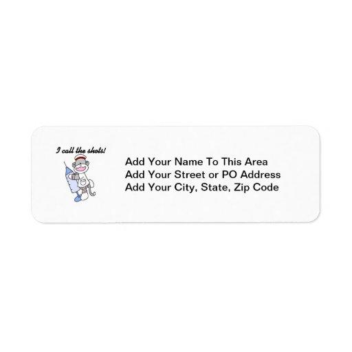 Sock Monkey Nurse I Call the Shots Gifts Custom Return Address Labels