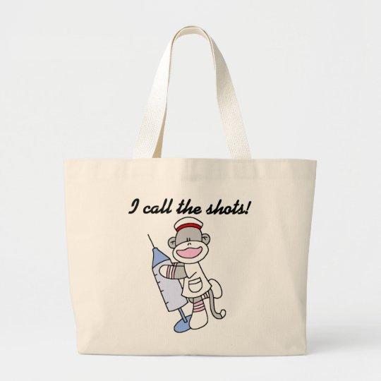 Sock Monkey Nurse I Call the Shots Gifts Large Tote Bag