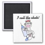 Sock Monkey Nurse I Call the Shots Gifts Fridge Magnets