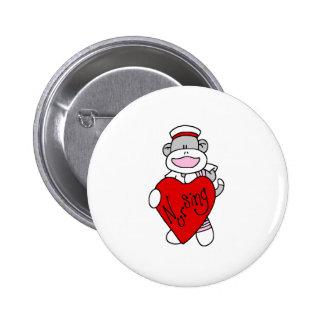 Sock Monkey Nursing Button