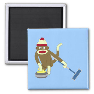 Sock Monkey Olympic Curling 2 Inch Square Magnet