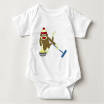 Sock Monkey Olympic Curling Baby Bodysuit