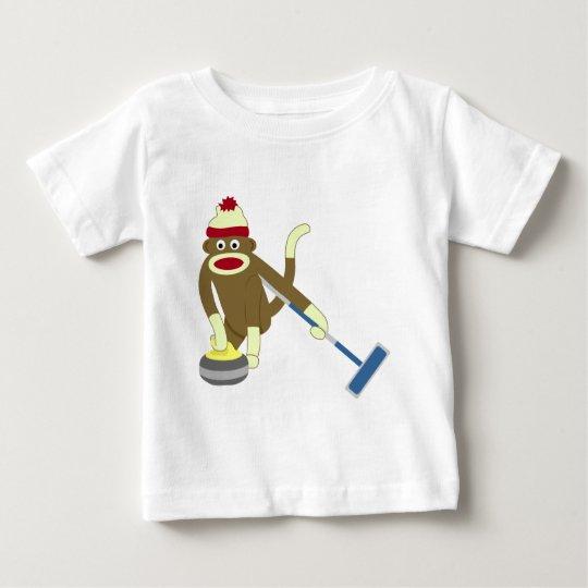Sock Monkey Olympic Curling Baby T-Shirt