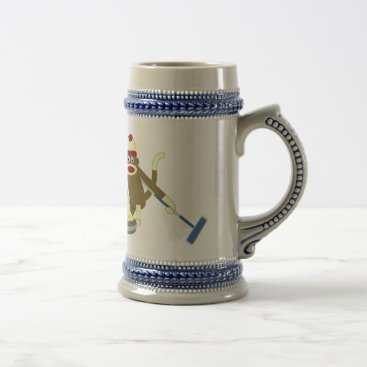 Valentines Themed Sock Monkey Olympic Curling Beer Stein
