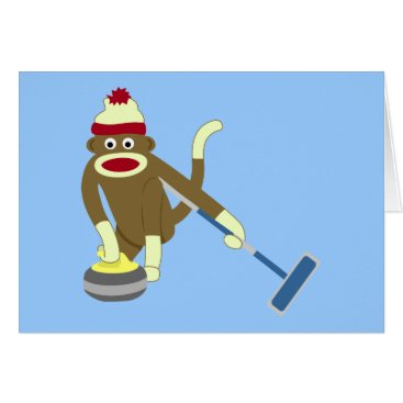 Valentines Themed Sock Monkey Olympic Curling Card