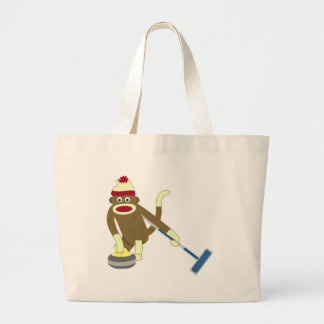 Sock Monkey Olympic Curling Large Tote Bag