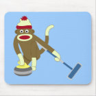 Sock Monkey Olympic Curling Mouse Pad