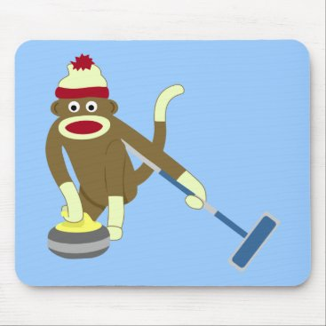 Valentines Themed Sock Monkey Olympic Curling Mouse Pad