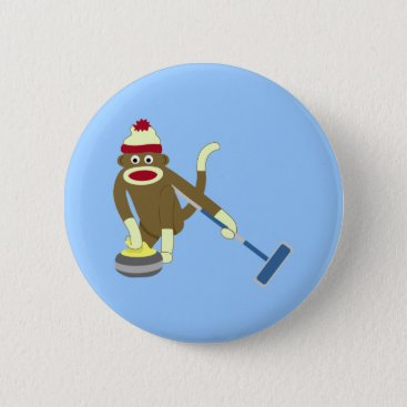 Valentines Themed Sock Monkey Olympic Curling Pinback Button