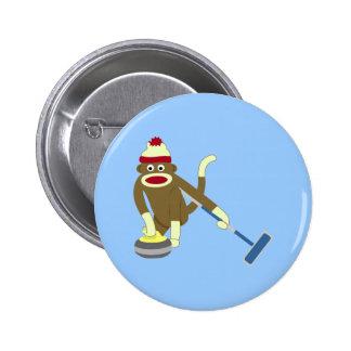 Sock Monkey Olympic Curling Pinback Button