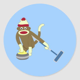 Sock Monkey Olympic Curling Round Sticker