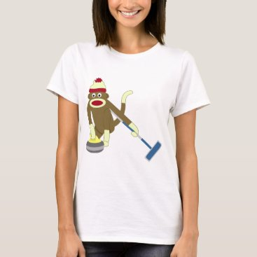 Valentines Themed Sock Monkey Olympic Curling T-Shirt