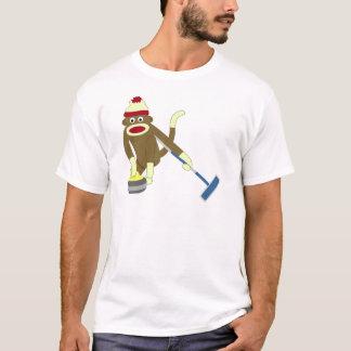 Sock Monkey Olympic Curling T-Shirt
