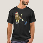 """Sock Monkey Olympic Curling T-Shirt<br><div class=""""desc"""">It&#39;s my favorite Olympic sport: curling! This sock monkey ready to go for the gold.</div>"""