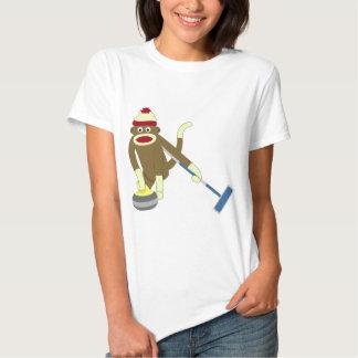 Sock Monkey Olympic Curling Tee Shirt