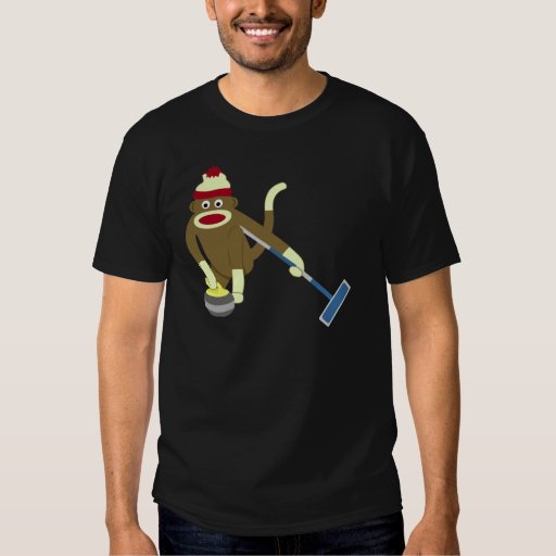 Sock Monkey Olympic Curling Tee Shirts