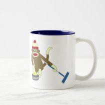 Sock Monkey Olympic Curling Two-Tone Coffee Mug
