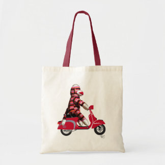 Sock Monkey on Moped Tote Bag
