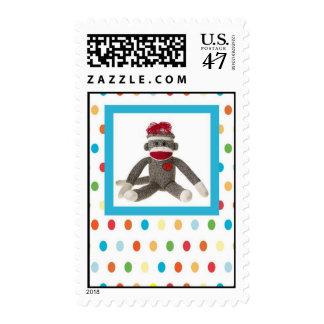 Sock Monkey on Polka Dots Postage