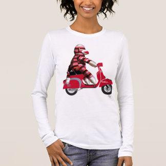 Sock Monkey on Red Moped Long Sleeve T-Shirt